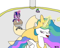 Size: 1000x800 | Tagged: safe, artist:bjdazzle, princess celestia, spike, twilight sparkle, atg 2017, baby, baby spike, chalk, classroom, desk, female, filly, filly twilight sparkle, newbie artist training grounds, quill, teacher and student, writing, younger
