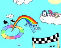 Size: 1000x800 | Tagged: safe, artist:bjdazzle, fluttershy, pinkie pie, rainbow dash, rarity, atg 2017, checkered flag, cheering, chibi, cloud, newbie artist training grounds, opera glasses, pom pom, race, sonic rainboom