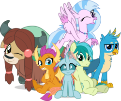 Size: 5067x4245   Tagged: safe, artist:jhayarr23, gallus, ocellus, sandbar, silverstream, smolder, yona, changedling, changeling, classical hippogriff, dragon, griffon, hippogriff, pony, yak, school daze, absurd resolution, best friends, claws, cloven hooves, cute, diaocelles, diastreamies, dragoness, feathered fetlocks, female, gallabetes, jewelry, male, necklace, one eye closed, sandabetes, school of friendship, sextet, simple background, smolderbetes, student six, teenager, transparent background, wink, yonadorable