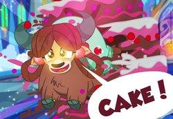 Size: 1100x762 | Tagged: safe, artist:pixelkitties, yona, yak, school daze, cake, cloven hooves, cute, dialogue, female, food, glowing eyes, happy, messy, monkey swings, open mouth, pixelkitties is trying to murder us, running, smiling, solo, speech bubble, yak smash, yonadorable