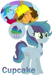 Size: 397x555 | Tagged: safe, artist:superrosey16, cheese sandwich, rainbow dash, oc, oc:cupccake, pony, cheesedash, female, hard hat, male, mare, offspring, parent:cheese sandwich, parent:rainbow dash, parents:cheesedash, shipping, simple background, straight, transparent background