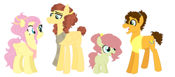 Size: 1161x517 | Tagged: safe, artist:jaysey, cheese sandwich, fluttershy, oc, oc:chocolate cloud, oc:cream cheese, earth pony, pegasus, pony, alternate hairstyle, base used, clothes, family, female, filly, fluttersandwich, male, offspring, parent:cheese sandwich, parent:fluttershy, parents:fluttersandwich, scarf, shipping, simple background, stallion, straight, white background