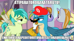 Size: 888x499 | Tagged: safe, edit, edited screencap, screencap, auburn vision, gallus, sandbar, summer breeze, summer meadow, griffon, pony, school daze, facial hair, fake moustache, friendship student, gibberish, hat, image macro, italian, mario, meme, moustache, super mario bros., talking