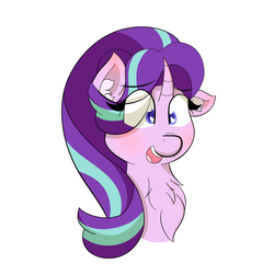Size: 1500x1500 | Tagged: safe, artist:xstarlightxchaserx, starlight glimmer, pony, unicorn, blushing, bust, chest fluff, hair over one eye, heart eyes, portrait, simple background, solo, white background, wingding eyes