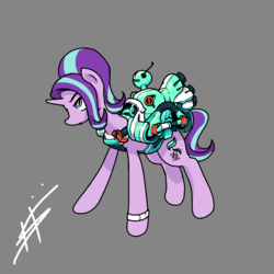 Size: 1280x1280 | Tagged: safe, artist:pencilbrony, starlight glimmer, pony, unicorn, machine, rocket, solo, technology