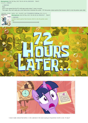 Size: 959x1338 | Tagged: safe, twilight sparkle, equestria daily, /mlp/, 4chan, calendar, deepest lore, golden oaks library, realization, spongebob time card, squid baby, timeline