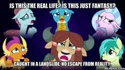 Size: 600x337 | Tagged: safe, edit, edited screencap, screencap, gallus, ocellus, sandbar, silverstream, smolder, yona, changedling, changeling, classical hippogriff, dragon, griffon, hippogriff, yak, school daze, bohemian rhapsody, image macro, lyrics in the comments, meme, memeful.com, queen (band), song in the comments, song reference, student six