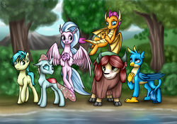 Size: 4000x2800 | Tagged: safe, artist:6editor9, gallus, ocellus, sandbar, silverstream, smolder, yona, changedling, changeling, classical hippogriff, dragon, earth pony, griffon, hippogriff, pony, school daze, commission, cute, diaocelles, diastreamies, dragoness, female, gallabetes, high res, sandabetes, smolderbetes, student six, tree, water, yonadorable