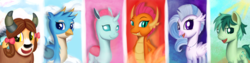 Size: 12000x3000 | Tagged: safe, artist:theunconsistentone, gallus, ocellus, sandbar, silverstream, smolder, yona, changedling, changeling, classical hippogriff, dragon, earth pony, griffon, hippogriff, pony, yak, school daze, blue background, cute, cutie mark, diaocelles, diastreamies, dragoness, female, gallabetes, green background, looking at you, male, night, night sky, pink background, red background, sandabetes, simple background, sky, smolderbetes, student six, teenager, yonadorable
