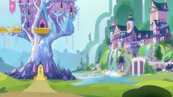 Size: 1920x1080   Tagged: safe, screencap, twilight sparkle, alicorn, school daze, background, female, pond, scenery, school of friendship, solo, twilight sparkle (alicorn), twilight's castle, waterfall
