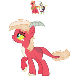 Size: 974x1001 | Tagged: safe, artist:royalswirls, big macintosh, discord, oc, hybrid, base used, chest fluff, cloven hooves, discomac, draconequus hybrid, female, gay, interspecies offspring, magical gay spawn, male, offspring, parent:big macintosh, parent:discord, parents:discomac, shipping, simple background, solo, tongue out, unshorn fetlocks, white background