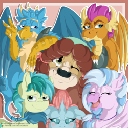 Size: 1500x1500 | Tagged: safe, artist:missydakota, gallus, ocellus, sandbar, silverstream, smolder, yona, changedling, changeling, classical hippogriff, dragon, earth pony, griffon, hippogriff, pony, yak, school daze, dragoness, female, looking at you, peace sign, smiling, student six