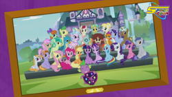 Size: 1280x720 | Tagged: safe, edit, edited screencap, screencap, applejack, auburn vision, fluttershy, gallus, ocellus, peppermint goldylinks, pinkie pie, rainbow dash, rarity, sandbar, silverstream, smolder, spike, starlight glimmer, strawberry scoop, summer breeze, summer meadow, twilight sparkle, yona, alicorn, changedling, changeling, classical hippogriff, dragon, griffon, hippogriff, pony, yak, school daze, anti-zionism, censorship, female, framed picture, friendship student, male, mane six, salute, school of friendship, spacetoon, student six, twilight sparkle (alicorn)