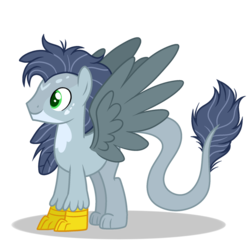 Size: 1024x1024 | Tagged: safe, artist:mintoria, oc, hippogriff, interspecies offspring, male, offspring, parent:gabby, parent:soarin', simple background, solo, transparent background