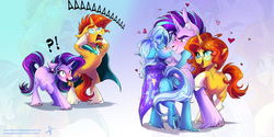 Size: 3464x1732 | Tagged: safe, artist:wilvarin-liadon, starlight glimmer, sunburst, trixie, pony, unicorn, aaaaaaaaaa, anus, blushing, exclamation point, female, half r63 shipping, heart, interrobang, looking at each other, male, mare, nudity, question mark, rearing, rule 63, self ponidox, shipping, simplistic anus, stallion, starburst, startrix, stellar gleam, straight, sungleam, sunstone (g4 r63 sunburst), trixgleam, trixgleamstone, unshorn fetlocks, zoom layer