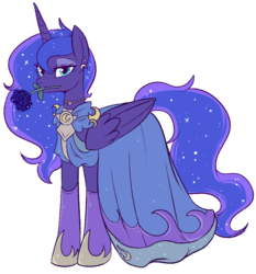 Size: 800x860   Tagged: safe, alternate version, artist:lulubell, princess luna, alicorn, pony, clothes, dress, ear piercing, earring, female, flower, flower in mouth, jewelry, mare, mouth hold, necklace, piercing, redraw, rose, rose in mouth, simple background, solo, transparent background