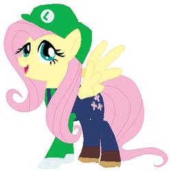 Size: 401x405   Tagged: safe, artist:selenaede, artist:user15432, fluttershy, pegasus, pony, barely pony related, base used, cap, clothes, crossover, gloves, green hat, hat, luigi, luigi's hat, luigishy, my little pony, nintendo, overalls, shirt, shoes, super mario bros., super smash bros., undershirt