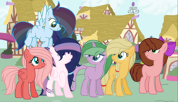 Size: 2495x1433   Tagged: safe, artist:princessunicorn123, oc, oc only, oc:apple shy, oc:apple star, oc:feathered wings, oc:fire jewel, oc:starlight shield, oc:strawberry cake, dracony, earth pony, hybrid, pegasus, pony, base used, bow, ear piercing, earring, hair bow, interspecies offspring, jewelry, next generation, offspring, parent:applejack, parent:big macintosh, parent:caramel, parent:cheese sandwich, parent:flash sentry, parent:fluttershy, parent:pinkie pie, parent:rainbow dash, parent:rarity, parent:soarin', parent:spike, parent:twilight sparkle, parents:carajack, parents:cheesepie, parents:flashlight, parents:fluttermac, parents:soarindash, parents:sparity, piercing
