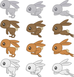 Size: 876x912   Tagged: safe, artist:gray--day, rabbit, .ai available, .svg available, animal, palette swap, recolor, resource, running, simple background, transparent background, vector