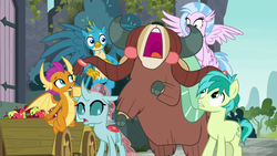 Size: 1280x720   Tagged: safe, screencap, gallus, ocellus, sandbar, silverstream, smolder, yona, changedling, changeling, classical hippogriff, dragon, earth pony, griffon, hippogriff, pony, yak, school daze, castle of the royal pony sisters, cloven hooves, dragoness, female, flying, male, student six, teenager