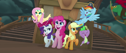 Size: 1920x804   Tagged: safe, screencap, applejack, fluttershy, mullet (character), pinkie pie, rainbow dash, rarity, spike, earth pony, parrot, parrot pirates, pegasus, pony, unicorn, anthro, my little pony: the movie, anthro with ponies, bandana, eyepatch, eyes closed, happy, hat, pirate, pirate applejack, pirate fluttershy, pirate hat, pirate pinkie pie, pirate rainbow dash, pirate rarity, smiling, sword, time to be awesome, weapon