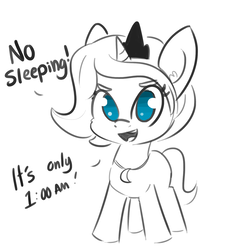 Size: 1650x1650 | Tagged: safe, artist:tjpones, princess luna, alicorn, pony, cute, dialogue, ear fluff, female, filly, filly luna, jewelry, looking at you, lunabetes, necklace, no pupils, open mouth, partial color, regalia, simple background, sleep is for the weak, smiling, solo, white background, wingless, woona, younger