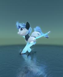 Size: 1649x2025 | Tagged: safe, artist:v747, oc, oc only, oc:sparky, pony, robot, robot pony, 3d, 3d render, blender, commission, mecha, simple background, solo, splash, water