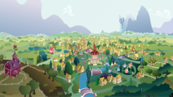 Size: 5667x3202 | Tagged: safe, artist:hellswolfeh, .ai available, .svg available, apple tree, background, bird's eye view, canterlot, fluttershy's cottage, high res, mostly sunny, mountain, no pony, ponyville, ponyville schoolhouse, ponyville town hall, resource, river, scenery, sweet apple acres, town, tree, vector, waterfall