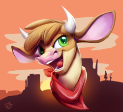 Size: 900x822   Tagged: safe, artist:tsitra360, arizona (tfh), cow, them's fightin' herds, bust, cloud, community related, female, open mouth, signature, sky, solo, sun, sunset