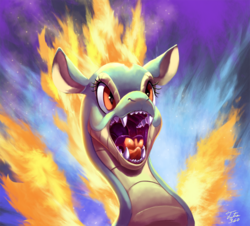 Size: 900x813 | Tagged: artist:tsitra360, bust, community related, fire, longma, maw, open mouth, safe, solo, them's fightin' herds, tianhuo