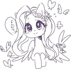 Size: 1200x1161 | Tagged: safe, artist:sibashen, angel bunny, fluttershy, butterfly, pegasus, pony, rabbit, black and white, bust, duo, female, grayscale, head tilt, looking at you, male, mare, monochrome, portrait, simple background, sketch, smiling, speech bubble, white background, wings