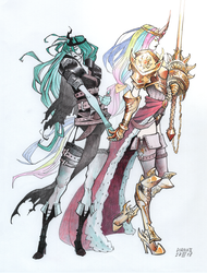 Size: 1280x1684 | Tagged: safe, artist:dianaiiz, princess celestia, queen chrysalis, human, armor, chryslestia, crown, female, holding hands, humanized, jewelry, lance, lesbian, regalia, shipping, simple background, sword, weapon, white background