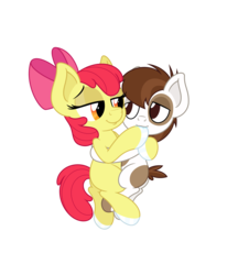 Size: 4331x5006 | Tagged: safe, anonymous artist, apple bloom, pipsqueak, earth pony, pony, absurd resolution, colt, cuddling, female, fetish, filly, foal, hoof fetish, hoof polish, hoof sucking, hug, male, nail polish, pipbloom, shipping, simple background, straight, transparent background