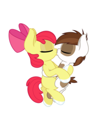 Size: 4331x5006 | Tagged: safe, anonymous artist, apple bloom, pipsqueak, earth pony, pony, absurd resolution, colt, cuddling, female, filly, foal, hoof polish, hug, kissing, male, nail polish, pipbloom, shipping, simple background, straight, transparent background