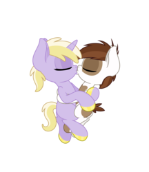 Size: 4331x5006 | Tagged: absurd res, anonymous artist, colored hooves, colt, cuddling, dinky hooves, dinkysqueak, earth pony, female, filly, foal, hoof polish, hug, kissing, male, nail polish, pipsqueak, pony, safe, shipping, simple background, straight, transparent background, unicorn