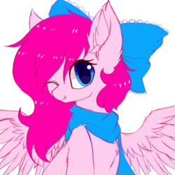 Size: 1500x1500 | Tagged: artist:heddopen, bow, bust, chest fluff, clothes, cute, cute little fangs, ear fluff, fangs, female, hair bow, looking at you, mare, oc, oc only, one eye closed, pegasus, pony, safe, scarf, simple background, solo, spread wings, white background, wings, wink