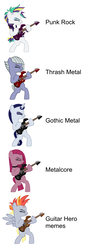 Size: 1924x5240 | Tagged: safe, artist:ironm17, editor:moonatik, derpy hooves, limestone pie, moonlight raven, pinkie pie, rarity, alternate hairstyle, derpunk, description is relevant, electric guitar, goth, gothic, guitar, guitar hero, heavy metal, meme, metal, pinkamena diane pie, punk, punk rock, punkie pie, raripunk, rhythm game, thrash metal