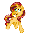 Size: 179x195 | Tagged: safe, artist:moonlightfan, sunset shimmer, pony, unicorn, female, mare, pixel art, simple background, solo, transparent background