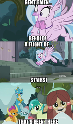 Size: 852x1440 | Tagged: aqua teen hunger force, changedling, changeling, classical hippogriff, doctor weird, dragon, earth pony, edit, edited screencap, gallus, griffon, hippogriff, image macro, meme, ocellus, pony, safe, sandbar, school daze, screencap, silverstream, smolder, student six, that hippogriff sure does love stairs, yak, yona