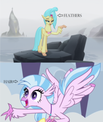 Size: 1304x1544   Tagged: safe, screencap, princess skystar, silverstream, classical hippogriff, hippogriff, my little pony: the movie, school daze, comparison, cute, diastreamies, feathered fetlocks, female, jewelry, mount aris, necklace, seashell necklace, skyabetes, sweet dreams fuel