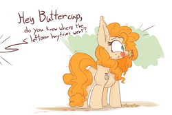 Size: 1500x1000 | Tagged: safe, artist:heir-of-rick, pear butter, earth pony, pony, cravings, dialogue, ear fluff, eating, female, fluffy, food, french fries, hay fries, implied bright mac, impossibly large ears, ketchup, mare, messy eating, offscreen character, plot, pregnancy cravings, pregnant, sauce, shocked, solo, text, that pony sure does love fries