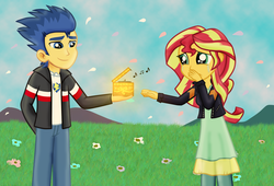 Size: 1454x991 | Tagged: artist:majkashinoda626, crying, equestria girls, female, flashimmer, flash sentry, male, music box, safe, shipping, straight, sunset shimmer, tears of joy