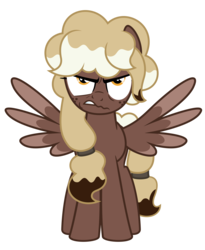 Size: 4500x5500 | Tagged: safe, artist:besttubahorse, oc, oc only, oc:sweet mocha, pegasus, pony, .svg available, absurd resolution, angry, female, freckles, front view, scowl, simple background, solo, spread wings, standing, svg, transparent background, vector, wings