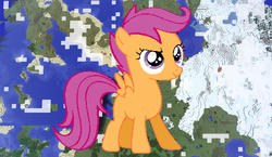 Size: 1440x838 | Tagged: safe, artist:shelmo69, artist:theunknown644, scootaloo, pegasus, pony, 3d, crossover, female, filly, game screencap, minecraft, minecraft pixel art, pixel art, solo