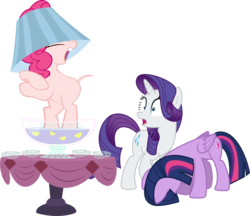 Size: 4692x4060 | Tagged: safe, artist:90sigma, artist:awesomecas, artist:parclytaxel, edit, editor:slayerbvc, vector edit, pinkie pie, rarity, twilight sparkle, alicorn, earth pony, pony, unicorn, ponyville confidential, the gift of the maud pie, the hooffields and mccolts, absurd resolution, bipedal, cup, dancing, female, furless, furless edit, hat, head down, lampshade, lampshade hat, mare, nude edit, nudity, open mouth, ponk, punch (drink), punch bowl, shaved, shaved tail, simple background, table, transparent background, twilight sparkle (alicorn), vector
