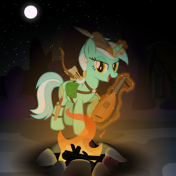 Size: 3600x3600 | Tagged: alternate hairstyle, archer, arrow, artist:cheezedoodle96, bard, bedroom eyes, bow and arrow, bow (weapon), campfire, dungeons and dragons, ear piercing, earring, fantasy class, female, harness, jewelry, looking at you, lute, lyra heartstrings, mare, moon, night, open mouth, piercing, pony, quiver, safe, singing, smiling, solo, tack, vector, weapon