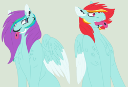 Size: 3032x2064 | Tagged: safe, artist:maiachlte, oc, oc only, oc:flying colors, oc:thunder clap, pegasus, pony, brother and sister, duo, ear piercing, female, green background, lip piercing, magical lesbian spawn, male, mare, nose piercing, nose ring, offspring, parent:lightning dust, parent:rainbow dash, parents:rainbowdust, piercing, simple background, stallion, tongue out, tongue piercing