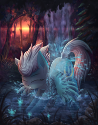 Size: 2696x3427 | Tagged: safe, artist:atlas-66, fleetfoot, pegasus, pony, bathing, cute, diafleetes, digital art, eyes closed, featured image, female, forest, high res, mare, outdoors, scenery, scenery porn, showering, smiling, solo, sunset, tree, water, waterfall, waterfall shower