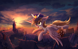 Size: 5000x3167 | Tagged: safe, artist:atlas-66, derpy hooves, pegasus, pony, envelope, female, flying, hat, mailbag, mailmare, mare, open mouth, ponyville, scenery, smiling, solo, town