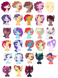 Size: 2144x2864 | Tagged: safe, artist:maiachlte, princess flurry heart, oc, oc only, oc:annastasia, oc:beryl, oc:bolide meteor, oc:confetti cannon, oc:courageous heart, oc:drama king, oc:eclipsed evening, oc:flying colors, oc:gala amethyst, oc:golden hooves, oc:harmony, oc:honey sandwich, oc:jam sandwich, oc:jasper, oc:kratos, oc:lax insense, oc:love poison, oc:north star, oc:peanut sandwich, oc:prince mirage, oc:raspberry cheesecake, oc:ristretto, oc:sandstorm winds, oc:smokey quartz, oc:valiant heart, oc:whirling skies, oc:willow rose, changeling, draconequus, dragon, earth pony, hybrid, pegasus, pony, unicorn, adopted offspring, amputee, base used, changeling oc, chibi, draconequus oc, female, interspecies offspring, magical gay spawn, magical lesbian spawn, male, mare, next generation, offspring, parent:applejack, parent:babs seed, parent:big macintosh, parent:bulk biceps, parent:button mash, parent:cheese sandwich, parent:cinnamon chai, parent:discord, parent:donut joe, parent:fashion plate, parent:flash sentry, parent:fluttershy, parent:garble, parent:lightning dust, parent:pinkie pie, parent:princess cadance, parent:princess celestia, parent:princess ember, parent:queen chrysalis, parent:rainbow dash, parent:rarity, parent:sassy saddles, parent:shining armor, parent:spike, parent:starlight glimmer, parent:sweetie belle, parent:thorax, parent:tree hugger, parent:trixie, parent:twilight sparkle, parent:twist, parents:babstwist, parents:bulkhugger, parents:cheesepie, parents:cinnamon donut, parents:dislestia, parents:emble, parents:flashlight, parents:fluttermac, parents:rainbowdust, parents:rarijack, parents:shiningcadance, parents:startrix, parents:sweetiemash, parents:thoraxspike, simple background, stallion, twins, white background